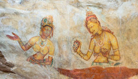 Frescoes Sigiriya Royalty Free Stock Photo