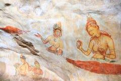 Frescoes Sigiriya (lew skała) Zdjęcia Stock
