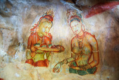 Frescoes in Sigiriya Lion Rock. Apsaras. Sri Lanka. Stock Photo