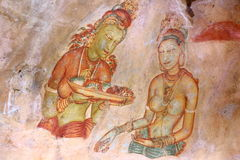 Frescoes of Sigiriya (Lion Rock ) Royalty Free Stock Photos