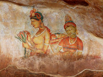 Frescoes at Sigiriya. Sri Lanka Stock Photo