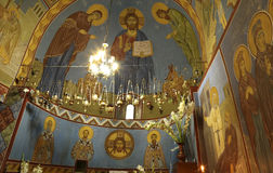 Frescoes of a small orthodox church in Georgia Stock Image