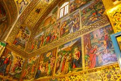 Frescoes in Vank Armenian Cathedral in Isfahan, Iran royalty free stock photo