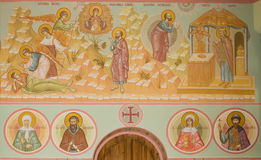 Frescoes w kościół trójca trójcy Skete wioska, Nizhny Novgorod region (,) obraz stock