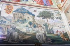 Frescoes w Sassetti kaplicie w bazylice Santa Trinita, Fl Zdjęcia Stock