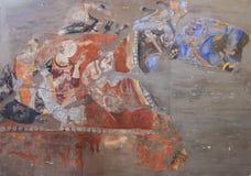 The frescoes on the wall of the palace of Ancient Penjikent, Tajikistan Stock Photo