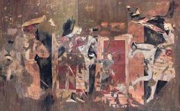 The frescoes on the wall of the palace of Ancient Penjikent, Tajikistan Stock Photos