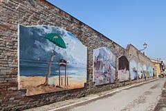 Frescoes in Cesenatico, Italy Stock Image
