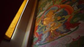 Frescos budistas en la pared del khurul central en elista Kalmukia almacen de metraje de vídeo