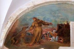 Frescos con escenas a partir de la vida de St Francis de Assisi Foto de archivo libre de regalías
