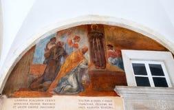 Frescos con escenas a partir de la vida de St Francis de Assisi Imagen de archivo libre de regalías