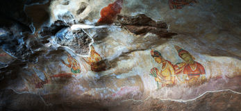 Frescos de Sigiriya en Sri Lanka Imagen de archivo