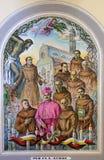 Frescos en catedral del ` s de St Stephen en Shkoder, Albania foto de archivo libre de regalías