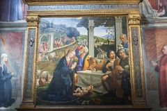 Frescos en la capilla de Sassetti en la basílica de Santa Trinita, la Florida imágenes de archivo libres de regalías