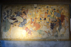 Frescos of Gradara castle on Marche, Italy. Royalty Free Stock Image
