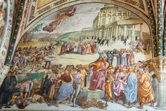 Frescos inside of Orvieto Cathedral, Italy royalty free stock photography