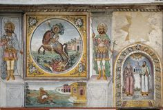 Frescos and paintings in Bachkovo monastery Stock Photo
