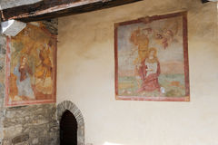 Frescos on the rural church of Medeglia Royalty Free Stock Photography