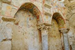 Frescos in the Saint Nicholas Santa Clause church in Demre, Tu. Rkey. It`s an ancient Byzantine Church Royalty Free Stock Photography