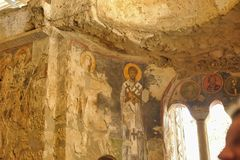 Frescos in the Saint Nicholas Santa Clause church  in Demre, Turkey. It`s an ancient Byzantine Church Stock Image