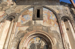 Frescos of Tigran Honents church in Ani ancient city, Kars, Turk. Frescos of Tigran Honents church in Ani is a ruined medieval Armenian city now situated in the Stock Images