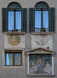 Frescos on wall, the building in Verona Royalty Free Stock Image