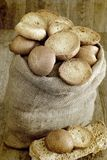 Freselle of bread in sack Royalty Free Stock Photos