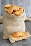 Freselle of bread in sack Stock Photography