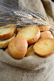 Freselle of bread in sack Stock Photos