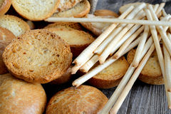 Freselle of bread in sack Royalty Free Stock Photography