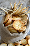 Freselle of bread in sack Royalty Free Stock Image