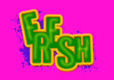 Fresh 3D illustration. Fresh text graphics illustrated in 3D block letters on pink background Royalty Free Stock Image