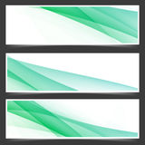 Fresh abstract spring header flyer set. With futuristic speed swoosh satin line waves. Vector illustration Royalty Free Stock Images