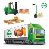 Fresh agricultural products delivery. Fresh fruit and vegetables delivery. Vector color illustration on white background Royalty Free Stock Photos