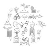 Fresh air icons set, outline style. Fresh air icons set. Outline set of 25 fresh air vector icons for web isolated on white background Royalty Free Stock Photos