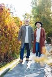 Joyful aged couple enjoying their outdoor walk royalty free stock image