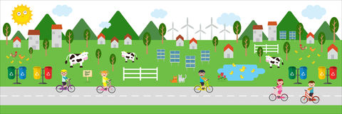 Fresh air village illustration Royalty Free Stock Photography