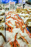 Fresh Alaska King Crab on ice for sale Stock Photos