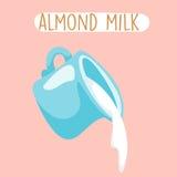 Fresh almond milk in blue jug  Stock Photos