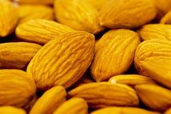 Fresh almonds arranged on the white Royalty Free Stock Image