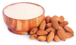 Fresh almonds with flour Stock Images