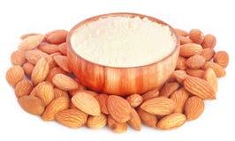 Fresh almonds with flour Stock Image