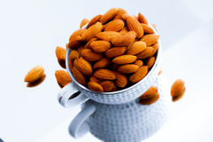 Fresh almonds. Sweet Fresh Almonds in a cup Royalty Free Stock Photos