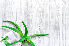 Fresh aloe vera leafs on wooden background top view copyspace Stock Image