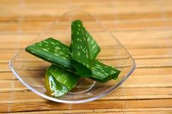 Fresh aloe vera leaves. On bamboo mats Stock Photo