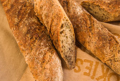 Fresh Alpine Baguettes with Pumpkin, Sesame, Chia and Flax Seeds Stock Photos