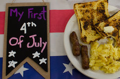 Fresh American eggs. And bread and signs for 4th of July day Stock Photography