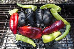 Fresh anaheim chili peppers roasting over a charcoal fire Stock Images