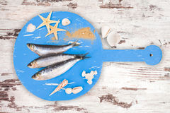 Fresh anchovy fish on white and brown wooden kitchen board. Royalty Free Stock Photography