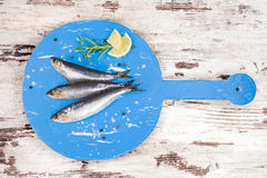 Fresh anchovy fish on wooden kitchen board. Stock Photography